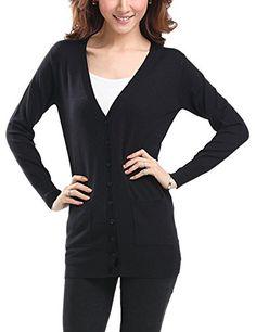 CLJJ7 Women's Thin Button Down Knit Cardigan Sweater (Medium, Black)