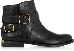 Buckled Leather Ankle Boots Burberry Shoes & Accessories