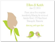 Wedding Invitation : Duet Information Card Love these little love birds, too cute! Plant this card and it will grow into wildflowers that your guests will be able to enjoy and think of you and your special day! What a great touch!
