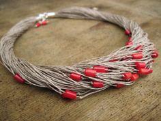 Lino orallo rosso braccialetto gioielli lino di DreamsFactory