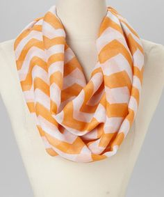 Love this Orange & White Infinity Scarf by Jasmine Trading Corp on #zulily! #zulilyfinds