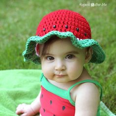 Repeat Crafter Me: Crocheting - Watermelon hat