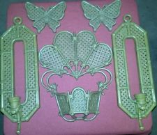 1980 HOMCO HOME INTERIOR RATTAN WICKER 2 WALL SCONCES WALL PLANTER BUTTERFLIES