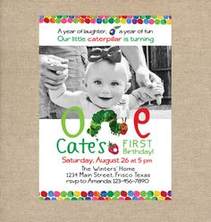 Very Hungry Caterpillar inspired Birthday Party Invitation - Custom Printable Baby First Birthday, Baby Birthday, First Birthday Parties, First Birthdays, Birthday Ideas, Birthday Board, Hungry Caterpillar Party, Hungry Caterpillar Invitations, Birthday Pictures