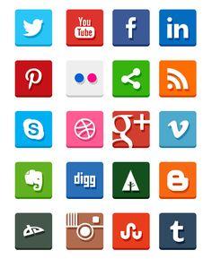 Simple Flat Social Media Icons. Nice!