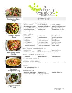 Vegetarian Meal Plan & Shopping List - Featuring Southwestern Veggie Wraps, Thai-Style Broccoli Salad, Crispy Cauliflower Cakes & more! (vegan grocery list 21 day fix) Going Vegetarian, Vegetarian Recipes Easy, Going Vegan, Healthy Recipes, Vegetarian Meal, Vegetarian Sandwiches, Vegetarian Breakfast, Aldi Meal Plan, Vegan Meal Plans