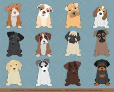 Cute Puppy Clip Art, hand drawn digital puppies, dog clipart images, printable collage sheet included, popular dog breeds, Buy 2 Get 1 Free