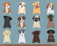 Dog Clip Art Cute Puppies shepherd husky bulldog by VizualStorm