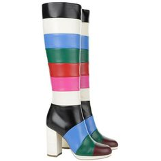 Valentino Leather Boot Multi Colored Horizontal Stripes Ruby Emerald... ($1,055) ❤ liked on Polyvore featuring shoes, boots, colorful, knee-high boots, platform boots, white leather boots, white boots, leather boots and knee high leather boots