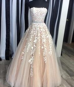 Elegant Prom Dresses, Gorgeous A-Line Strapless Champagne Tulle Long Prom/Evening Dress with Appliques Shop for La Femme prom dresses. Elegant long designer gowns, sexy cocktail dresses, short semi-formal dresses, and party dresses. Lace Prom Gown, Strapless Prom Dresses, Cute Prom Dresses, Elegant Prom Dresses, Ball Gowns Prom, Lace Evening Dresses, Event Dresses, Quinceanera Dresses, Pretty Dresses