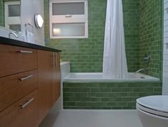 Got to LOVE this green subway tile.