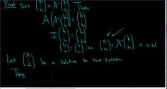 System of Linear Equations with Invertible Coefficient Matrix has a Uniq...