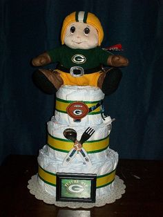 OMG-a 3-tiered Packers Diaper Cake! This is seriously awesome