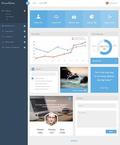 A clean and modern dashboard template released by Andreansyah Setiawan, which includes all the elements you need to design a striking admin panel. The PSD is fully layered to make it easy to customize. Dashboard Template, Dashboard Design, Brochure Design, Web Design, Flat Design, Business Intelligence, Intranet Design, Analytics Dashboard, Data Analytics
