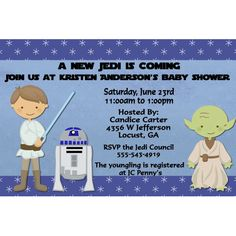 Star Wars Baby Jedi Baby Shower Party Invitations Digital File. $12.00, via Etsy.