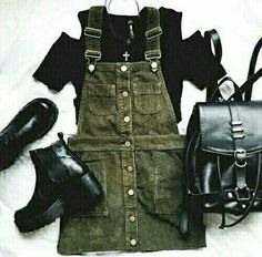 green overall dress outfit Grunge Outfits, Grunge Fashion, Look Fashion, Korean Fashion, Fall Outfits, Casual Outfits, Autumn Fashion, Fashion Outfits, Grunge Clothes