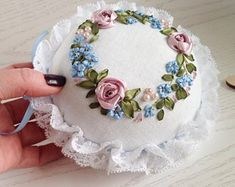 Large round handmade white pincushion in Vintage style with Silk Ribbon embroidered Pink and Blue fl Ribbon Embroidery Tutorial, Embroidery Patterns Free, Silk Ribbon Embroidery, Beaded Embroidery, Hand Embroidery, Embroidery Bracelets, Flower Embroidery, Diy Hair Accessories, Sewing Accessories