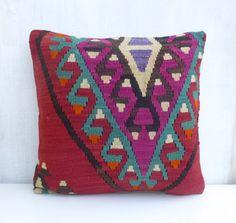 Decorative Kilim Pillow 18'x18'  45x45cm Wool by PillowTalkOnEtsy, $58.00