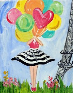 Lady with balloons, cute beginner painting idea. paris painting, painting of girl, Cute Canvas Paintings, Easy Canvas Painting, Simple Acrylic Paintings, Diy Painting, Painting & Drawing, Canvas Art, Painting Ideas For Kids, Kids Canvas, Paris Painting