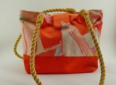 Small orange purse tote mod vintage 1970s funky by CleverRuthie, $45.00