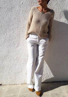 Mohair sweater loose knit sweater knit jumper neutral by EstherTg Loose Knit Sweaters, Hand Knitted Sweaters, Mohair Sweater, Chunky Knitting Patterns, Easy Knitting, Diy Beauty Hacks, Fashion Wear, Knitwear, Winter Fashion