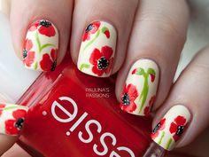 Poppy Flowers Nails