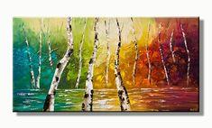 Bos landschap schilderij met kleurijke kleuren