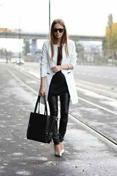1. White Coat  2. Black Dress  3. Faux Leather Skinny Pants  4. Black Bag  5. Silver Heels