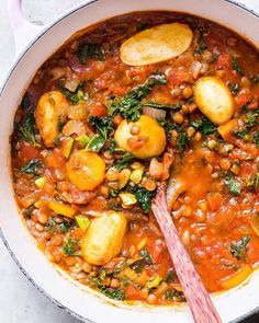 "Deliciously Ella on Instagram: ""Lentil and potato stew with carrots, garlic, tomatoes, kale, parsley and cumin 🤗 Warming, hearty and perfect for these greyer days ✨ Recipe…"""
