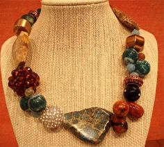 Stunning Stone Collage Necklace in Blues and Ambers with Pearl and Crystal