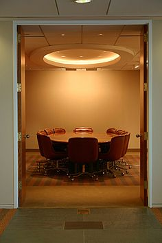 Conference Room  Recessed circular lighting
