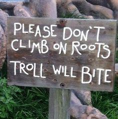 - por favor no subir en las raíces, el gnomo te morderá - please don't climb on roots- troll will bite
