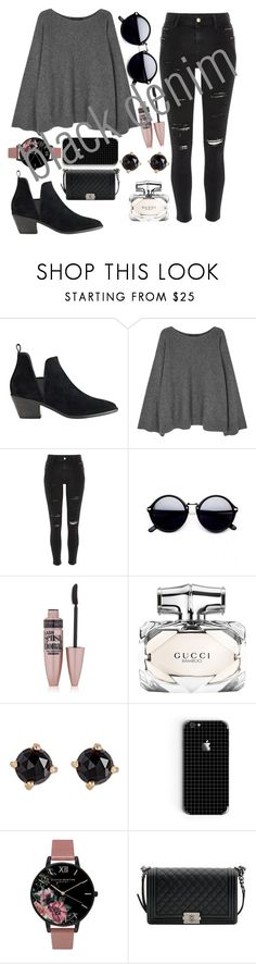 """""""Untitled #791"""" by maria-gutierrez-perez ❤ liked on Polyvore featuring Sigerson Morrison, The Row, River Island, Maybelline, Gucci, Irene Neuwirth, Olivia Burton and Chanel"""