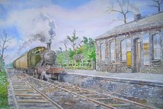 Watercolour and Ink artwork of Praze Station, Cornwall on the Helston Branch line, 1958