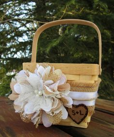 Personalized Rustic Flower Girl Basket  by MyMontanaHomestead
