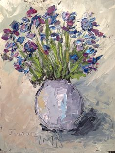 Purple bunch 2 Oil with pallet knife By Juanette Menderoi