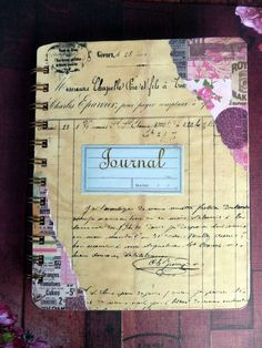 journal cover.  Love the idea of using an old document on the cover. Possibly use an old library card, grade card, old receipts, accounting ledgers, etc...