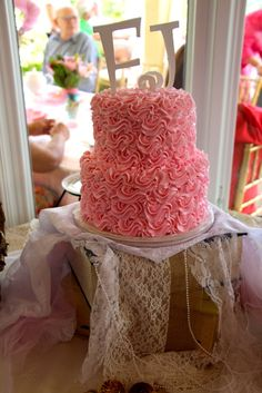 Vintage Shabby Chic Birthday Party pink ruffle cake!  See more party ideas at CatchMyParty.com