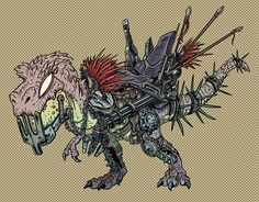 "An Armored T-Rex from the comics series ""kids with guns"" by Capitan Artiglio   #Armored  #T-rex #comics #CapitanArtiglio #cowboysanddinosaurs #kidswithguns #juliencittadino #illustration"