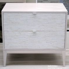 2 Drawer Ivory Night Stand * Ercole Home   Custom Mosaic Furniture   NYC *