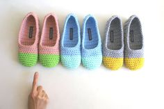Oh. I will have the grey and yellow ones please.  Super cute crocheted slippers.