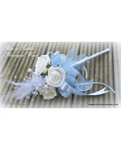 Flowergirl Wands - Feather & Rose Childs Wedding flowers - shown here in ivory and baby blue - bridal flowers in a massive variety of colour combinations - just £10