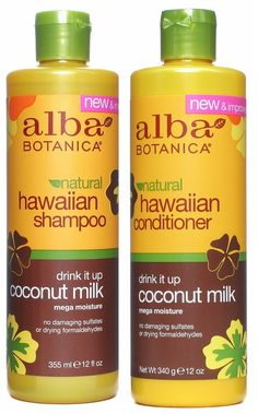 Alba Botanica, Drink It Up Coconut Milk Hawaiian Duo set Conditioner and Shampoo, 12 Ounce each.  PH Balanced. Shampoo is a Gel consistency, little goes a long way, (Sulfate free so not very lathery)! Amazon.com :  $18.00 together (Prime membership no shipping) Heavenly scent, awesome silky detangling conditioner.