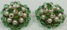 Green and white beaded circle clip on earrings gold tone back #Huggie