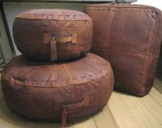 Genuine Leather Pouffe Brown Floor Cushion Pillow Footrest Square ...
