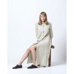 Women Dress Maxi Dress Buttoned Dress Casual Women Dress Shirt Dress ($173) ❤ liked on Polyvore featuring dresses, silver, women's clothing, loose fit dress, linen dress, loose dress, loose fit maxi dress and maxi dress