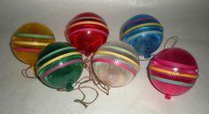 WW II Christmas ornaments, fun colors!