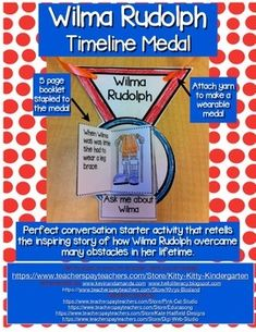 A fun conversation starter activity to retell the inspiring story of Wilma Rudolph. Students will cut and staple pages of her accomplishments to the medal. They can then proudly wear their medal and share the story of Wilma. Classroom Projects, Classroom Resources, School Projects, School Ideas, Wilma Rudolph, Timeline Project, Fun Conversation Starters, First Grade Science, Thing 1