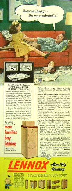 Vintage Lennox ad - comfy couch