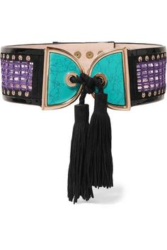 Black suede and patent-leather, purple crochet, turquoise-effect resin Snap fastenings Made in France